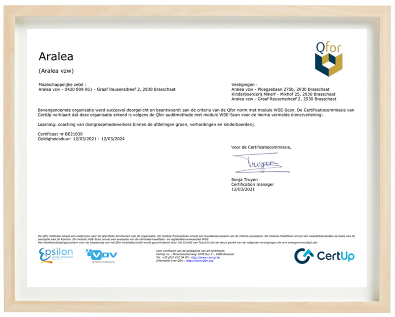 Aralea behaalt kwaliteitslabel Q for WSE van CertUp
